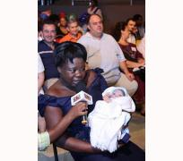 Mrs Joy Everbright testifying with her new baby!