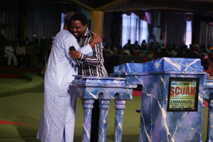 TB Joshua and Atta Mills in a warm embrace