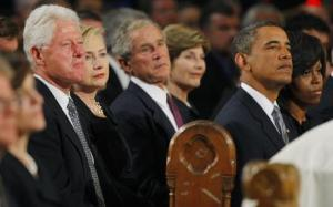 Clinton, Bush, Obama - Paying their last respects...