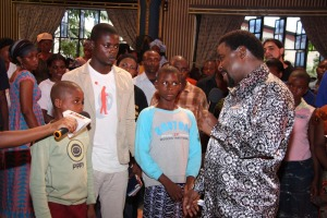 TB Joshua with Asuquo and the children accused of witchcraft