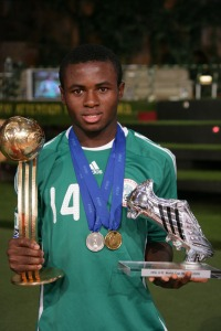Sani Emmanuel With Golden Ball and Silver Shoe