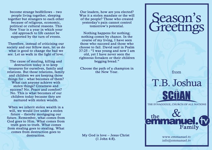 Seasons greetings from tb joshua the scoan and emmanuel tv family seasons greetings from tb joshua the scoan and emmanuel tv m4hsunfo