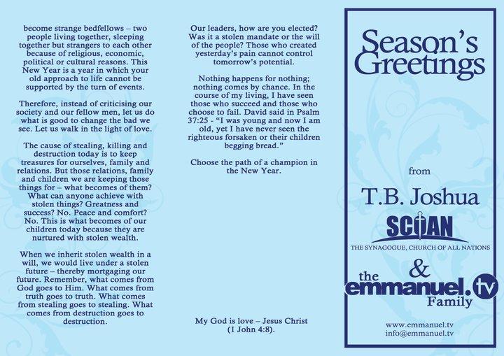 Seasons Greetings From TB Joshua, The SCOAN and Emmanuel TV