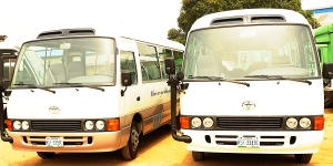 The brand new coaster buses purchased for the elderly at The SCOAN.