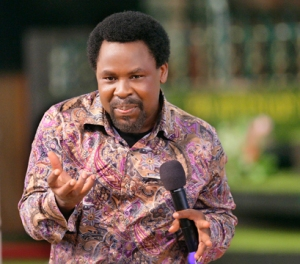 Prophet T.B. Joshua preaching to the congregation